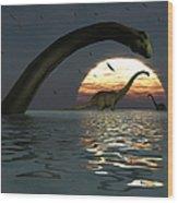 Diplodocus Dinosaurs Bathe In A Large Wood Print