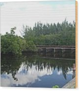 Dock On The North Fork River Wood Print