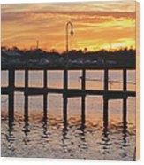 Dock Sunset Wood Print