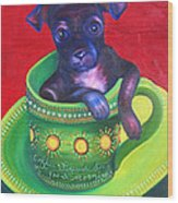 Dog In Cup Wood Print