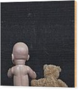 Doll And Bear Wood Print