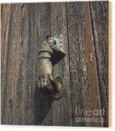Door Handle In The Shape Of A Hand Wood Print