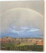 Double Rainbow Over Sedona Wood Print