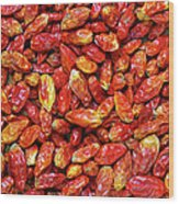 Dried Chili Peppers Wood Print by Carlos Caetano