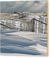 Drifting Snow Along The Beach Fences At Nauset Beach In Orleans  Wood Print
