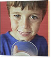 Drinking Milk Wood Print