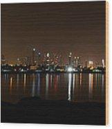 Dubai By Night Wood Print