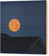 Early Morning Full Moon Over Walton Kentucky Wood Print by Maureen  McDonald