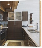 Efficiency Apartment Kitchen Wood Print by Ben Sandall