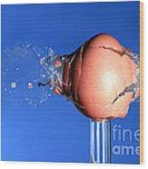 Egg Hit By A Bullet Wood Print