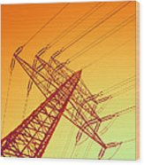 Electricity Power Lines Wood Print