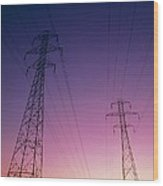 Electricity Transmission Lines At Sunset Wood Print