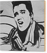 Elvis In Black And White Wood Print