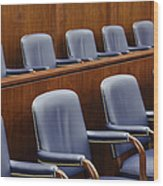 Empty Jury Seats In Courtroom Wood Print