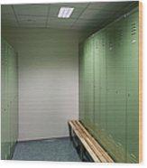 Empty Locker Room Wood Print