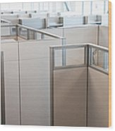 Empty Office Cubicles Wood Print