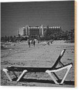 Empty Sun Lounger On Cyprus Tourist Organisation Municipal Beach In Larnaca Bay Republic Of Cyprus Wood Print