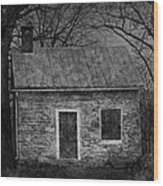 Enchanted Moonlight Cottage Wood Print