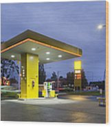 Estonian Gas Station At Night Wood Print