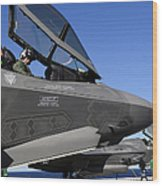 F-35b Lightning II Variants Are Secured Wood Print