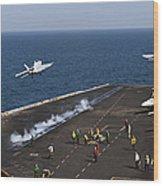 Fa-18f Super Hornets Launch Wood Print