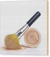 Face Powder And Make-up Brush Wood Print by Bernard Jaubert