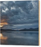 Fall Sunset Over Lake Pend Oreille Wood Print
