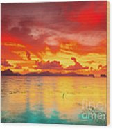 Fantasy Sunset Wood Print