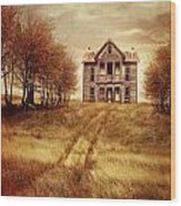Farm House On Hill With Autumn Scenery Wood Print
