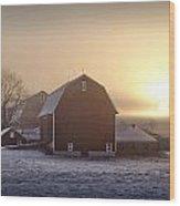 Farm Winter Sunrise Wood Print
