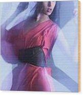 Fashion Photo Of A Woman In Shining Blue Settings Wood Print