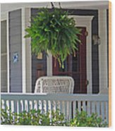 Fern On Front Porch Wood Print