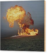 Fireball From Liquid Petroleum Gas Explosion Wood Print by Crown Copyrighthealth & Safety Laboratory