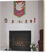 Fireplace At Christmas Wood Print