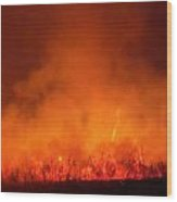 Fire's Glow Wood Print