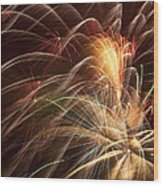 Fireworks In Night Sky Wood Print by Garry Gay