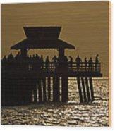 Fishing At Naples Pier Wood Print