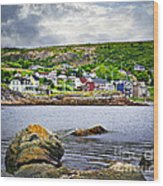 Fishing Village In Newfoundland Wood Print by Elena Elisseeva