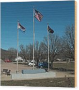 Flags With Blue Sky Wood Print