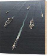 Fleet Of Navy Ships Transit The Arabian Wood Print
