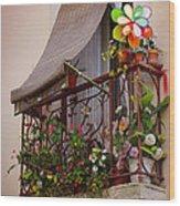 Flowery Balcony Wood Print