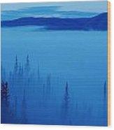 Fog At Dawn, Stewart Crossing, Yukon Wood Print