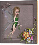 Forest Fairy In The Garden Wood Print