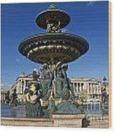 Fountain At Place De La Concorde. Paris. France Wood Print