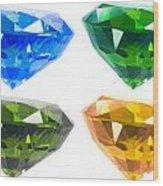 Four Diamond Wood Print