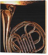 French Horn With Sparks Wood Print