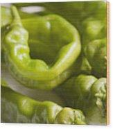 Fresh Long Green Hot Peppers Wood Print