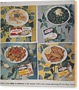 Frozen Food Ad, 1957 Wood Print