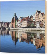 Gdansk Old Town And Motlawa River Wood Print