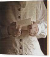 Gentleman In Vintage Clothing Reading A Letter Wood Print